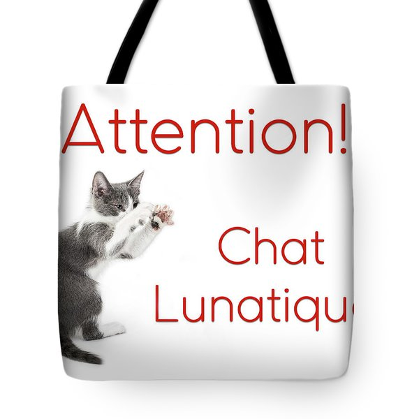 Tote Bag featuring the photograph Attention Chat Lunatique by Endre Balogh