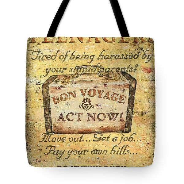Attention Teenagers Tote Bag by Debbie DeWitt