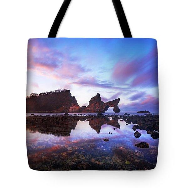Tote Bag featuring the photograph Atuh Beach Dawn Break Scene by Pradeep Raja Prints