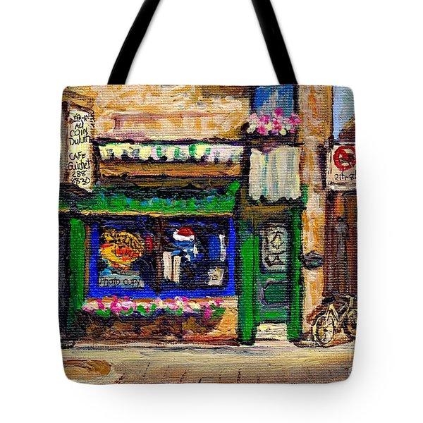 Au Coin Duluth Depanneur Painting Plateau Mont Royal Cafe City Scene Best Original Art For Sale Tote Bag
