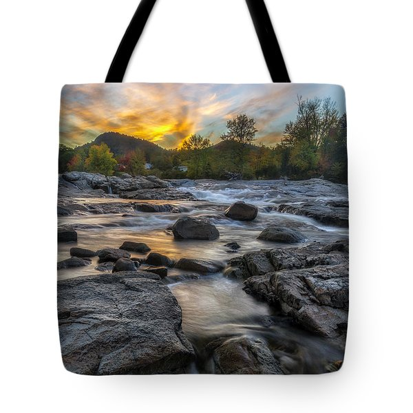 Tote Bag featuring the photograph Auasble River Sunset by Mark Papke