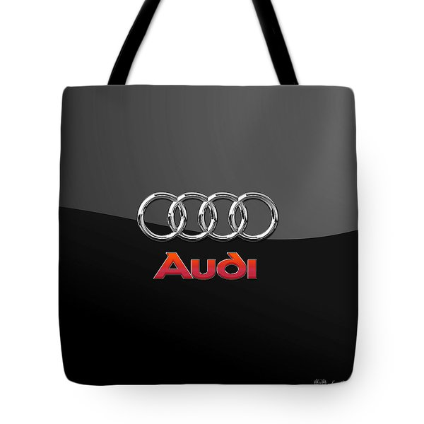Audi 3 D Badge On Black Tote Bag by Serge Averbukh