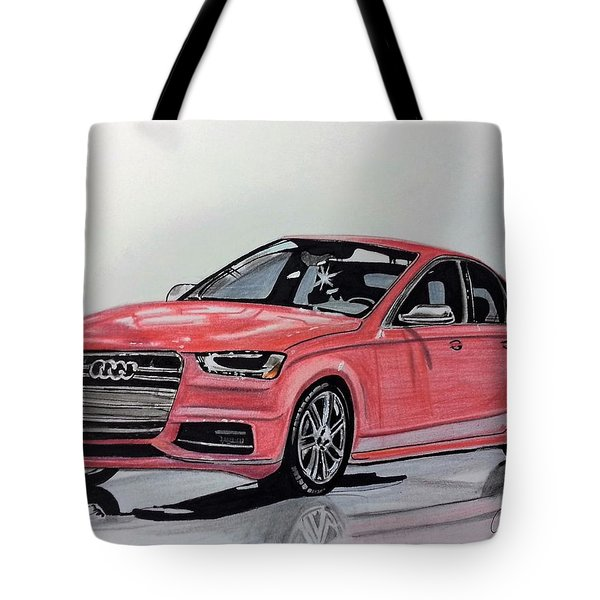 Tote Bag featuring the mixed media Audi S4 by Kevin F Heuman
