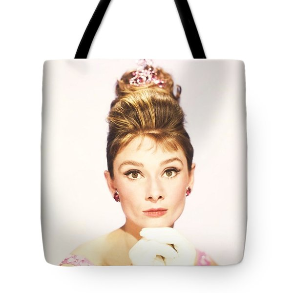 Tote Bag featuring the photograph Audrey Hepburn Breakfast At Tiffanys  by R Muirhead Art