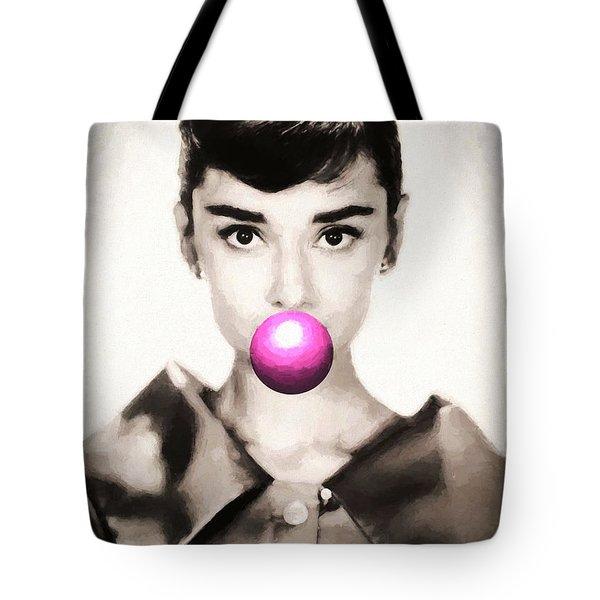 Audrey Hepburn Bubblegum Tote Bag