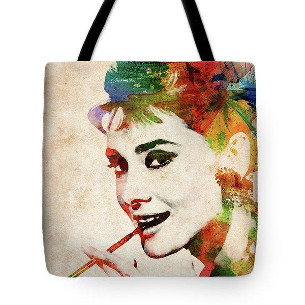 Audrey Hepburn Colorful Portrait Tote Bag