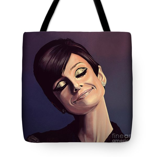 Audrey Hepburn Painting Tote Bag by Paul Meijering