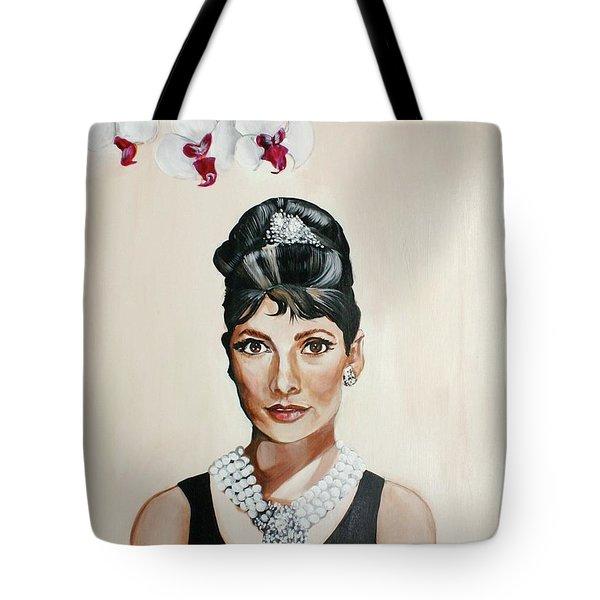 Audrey Hepburn Tote Bag by Shelley Overton