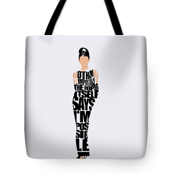 Audrey Hepburn Typography Poster Tote Bag