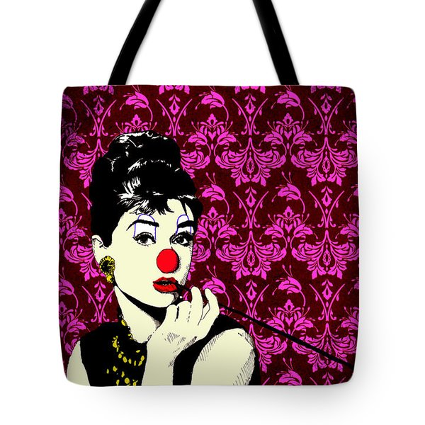 Tote Bag featuring the drawing Audrey On Purple by Jason Tricktop Matthews