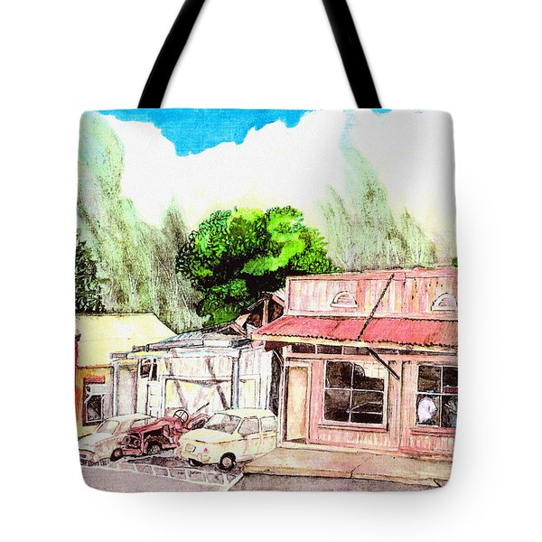 Tote Bag featuring the painting Auggies Pool Hall by Eric Samuelson