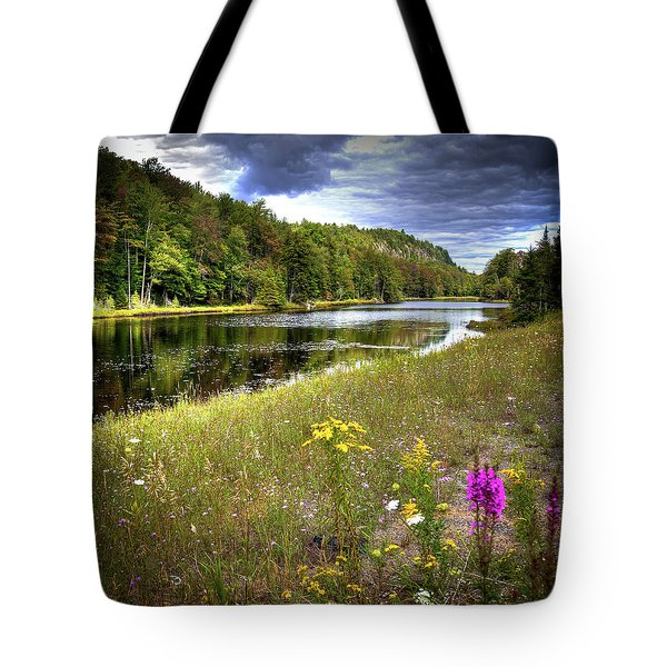 Tote Bag featuring the photograph August Flowers On The Pond by David Patterson