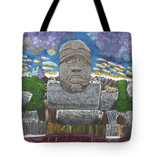 August  Olmec Head Tote Bag