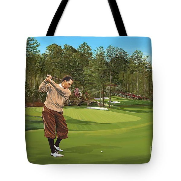 Augusta 11 And 12th Hole Bobbyjones Tote Bag by Tim Gilliland