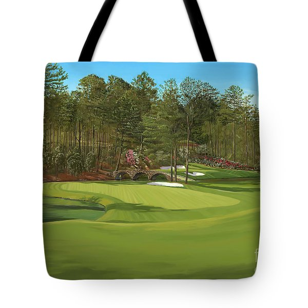 Augusta 11 And12th Hole Tote Bag by Tim Gilliland