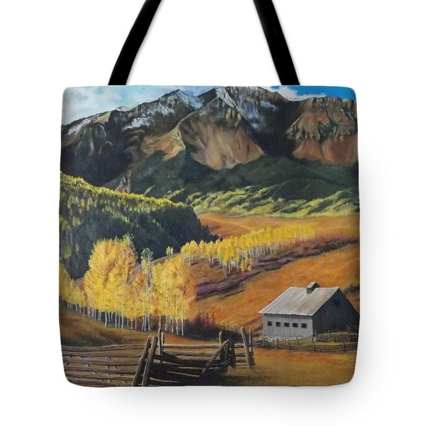 Tote Bag featuring the painting Autumn Nostalgia Wilson Peak Colorado by Anastasia Savage Ealy