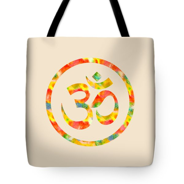 Tote Bag featuring the painting Aum Symbol Abstract Digital Painting by Georgeta Blanaru
