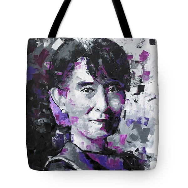 Tote Bag featuring the painting Aung San Suu Kyi by Richard Day