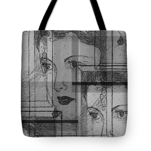 Aunt Edie Black And White Print Tote Bag
