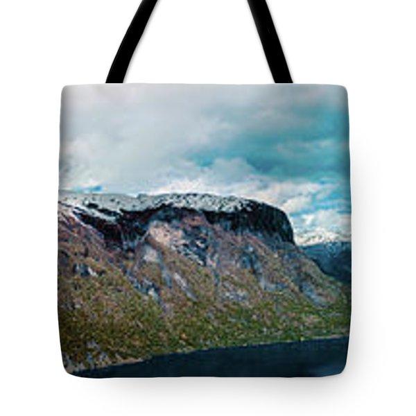 Aurlandsfjorden Panorama Revisited Tote Bag