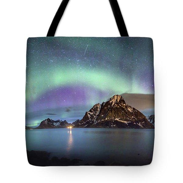 Aurora Above Reinefjord Tote Bag