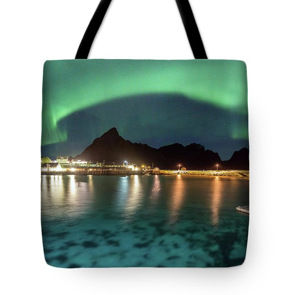 Aurora Above Turquoise Waters Tote Bag