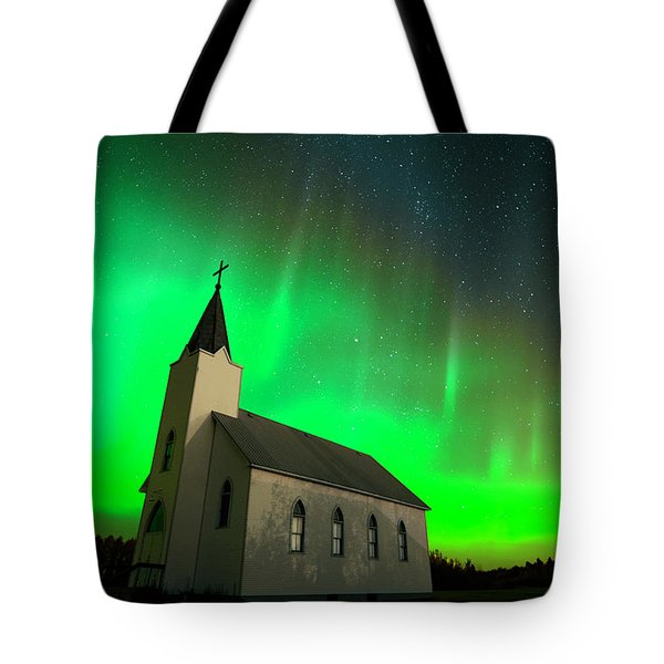 Aurora And Country Church Tote Bag by Dan Jurak
