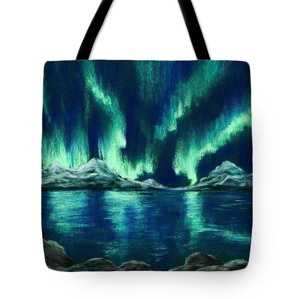 Tote Bag featuring the pastel Aurora Borealis by Anastasiya Malakhova