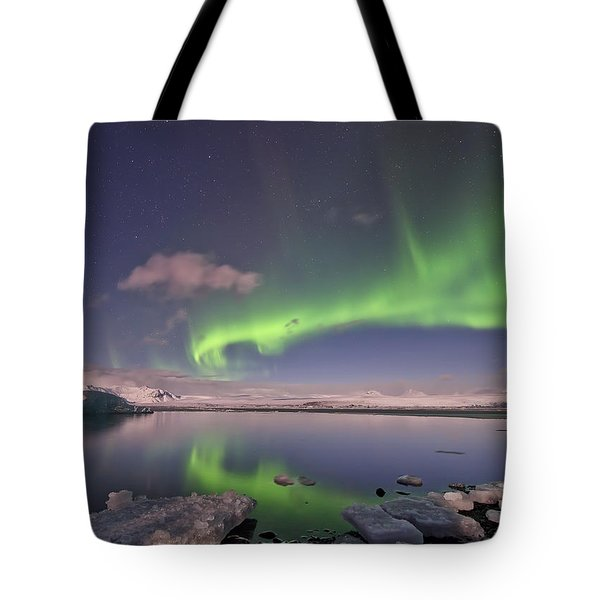 Tote Bag featuring the photograph Aurora Borealis And Reflection #2 by Wanda Krack