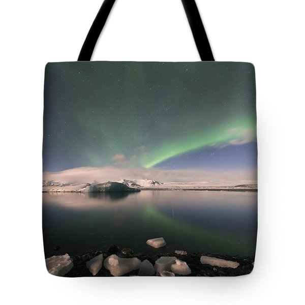 Tote Bag featuring the photograph Aurora Borealis And Reflection by Wanda Krack