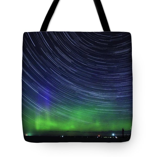 Aurora Borealis And Star Trails Tote Bag by Charline Xia