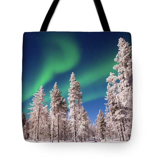 Tote Bag featuring the photograph Aurora Borealis by Delphimages Photo Creations