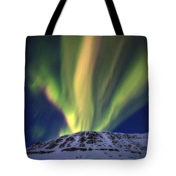 Aurora Borealis Over Toviktinden Tote Bag by Arild Heitmann