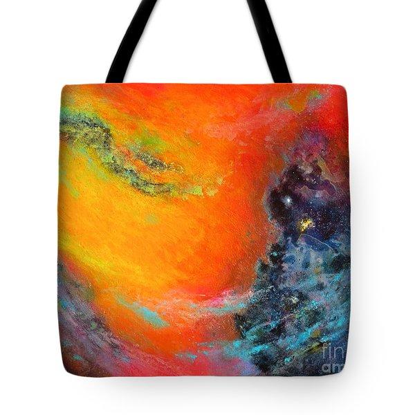 Fantasies In Space Series Painting. Aurora Galaxy Tote Bag