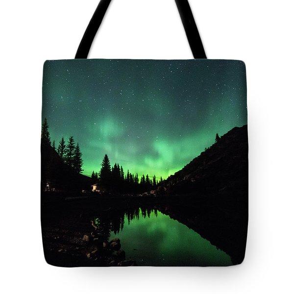 Aurora On Moraine Lake Tote Bag by Alex Lapidus