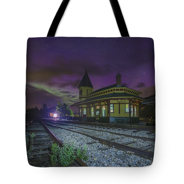Aurora Over The Crawford Notch Depot Tote Bag