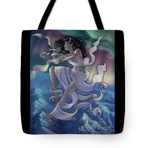 Tote Bag featuring the digital art Aurora Weaver by Amyla Silverflame