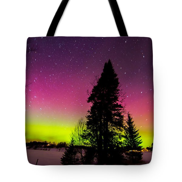 Aurora With Spruce Tree Tote Bag by Tim Kirchoff