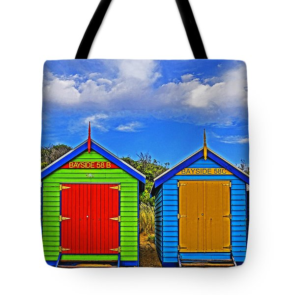 Aussie Beach Boxes Tote Bag by Dennis Cox WorldViews