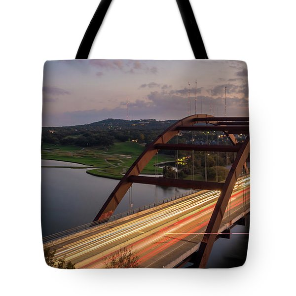 Austin 360 Bridge At Night Tote Bag