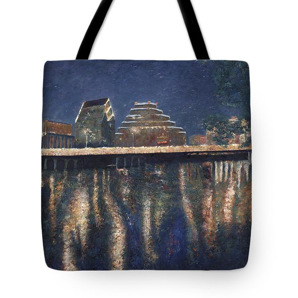 Austin At Night Tote Bag by Felipe Adan Lerma