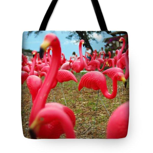 Tote Bag featuring the photograph Austin Flamingos by Gregg Cestaro