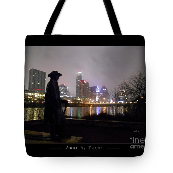 Austin Hike And Bike Trail - Iconic Austin Statue Stevie Ray Vaughn - One Greeting Card Poster Tote Bag