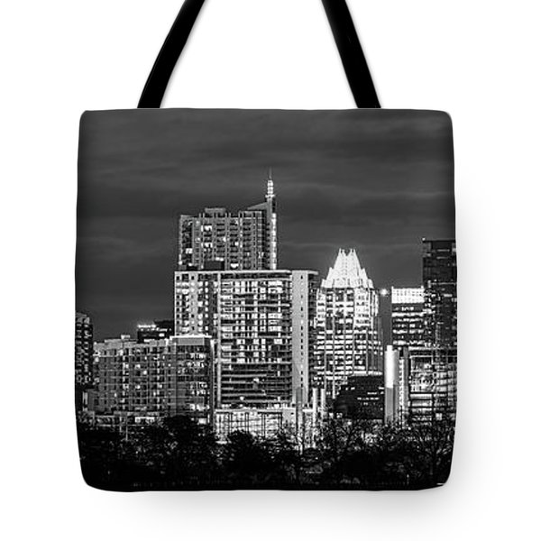 Austin In Black And White Pano Tote Bag