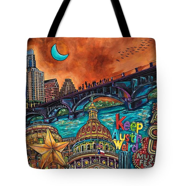Tote Bag featuring the painting Austin Keeping It Weird by Patti Schermerhorn