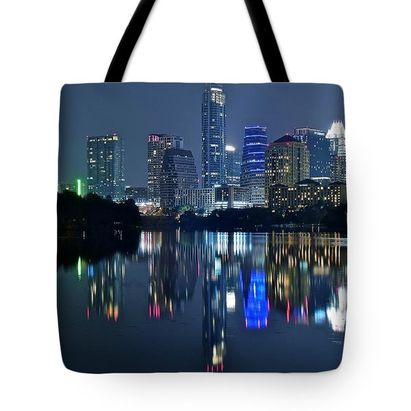 Austin Night Reflection Tote Bag by Frozen in Time Fine Art Photography