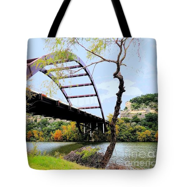 Austin Pennybacker Bridge In Autumn Tote Bag