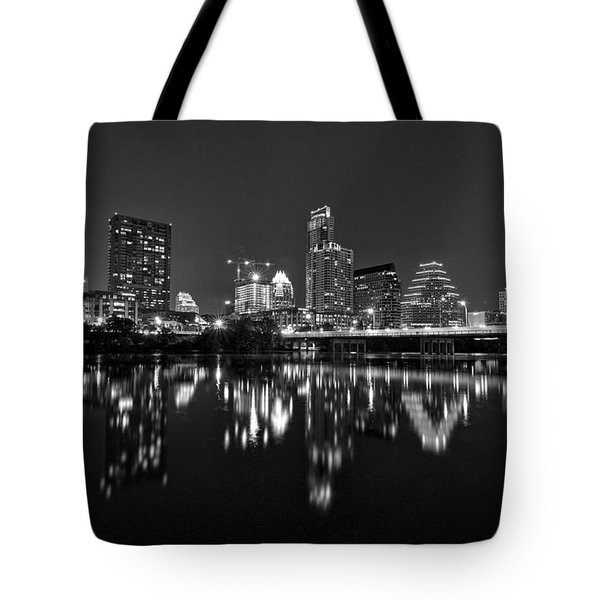 Tote Bag featuring the photograph Austin Skyline At Night Black And White by Todd Aaron