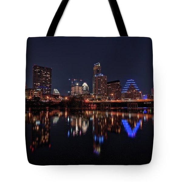 Austin Skyline At Night Tote Bag