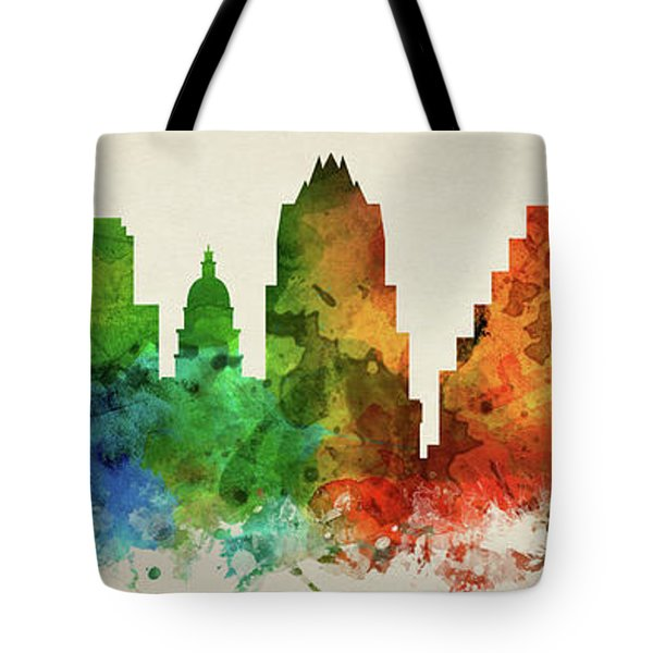 Austin Skyline Panorama Ustxau-pa03 Tote Bag by Aged Pixel